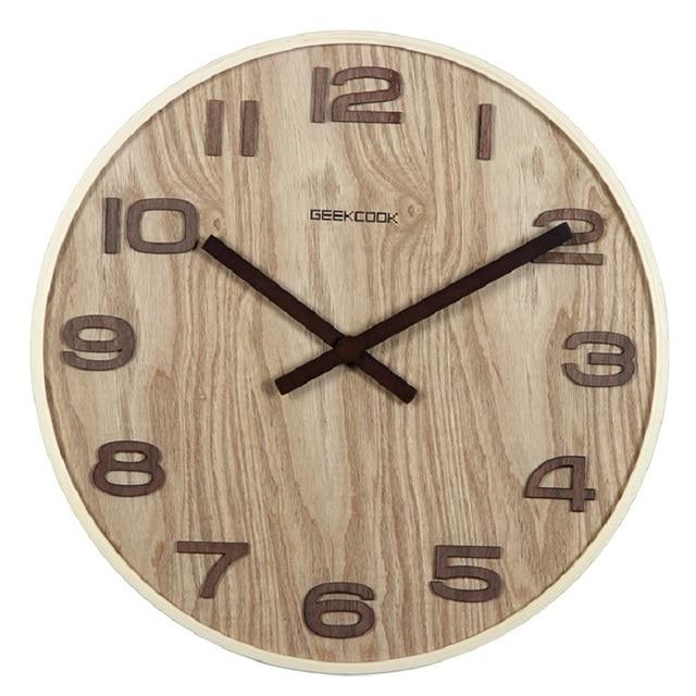 c2260d90239 14 polegadas Relógio de Parede De Madeira Relógio Saat Reloj Duvar Saati Relogio  Parede Home Da