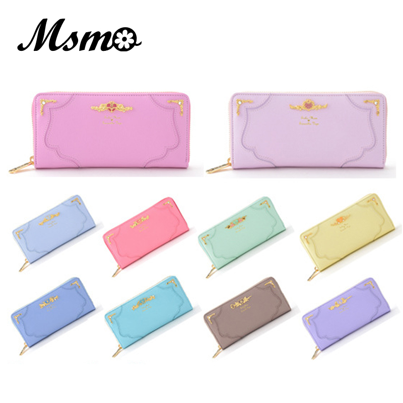 2017 10 Color Fashion Sailor Moon Samantha Vega Luna Cat Wallet Kawaii Long Purse Cute Ladies PU Leather Wallet