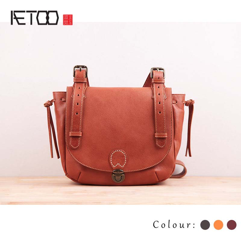 AETOO Handmade first layer of leather ladies bag big 2016 new leather handbags fashion atmosphere semi-circular saddle Messenger qiaobao 100% genuine leather handbags new network of red explosion ladle ladies bag fashion trend ladies bag