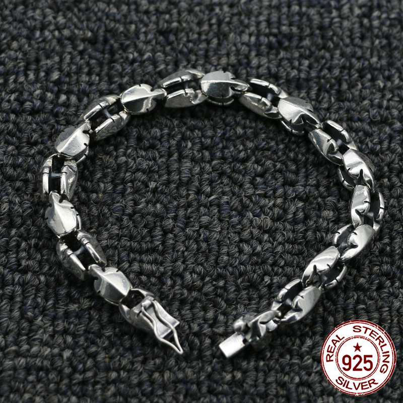 100% sterling silver mens bracelet personality fashion classic retro punk jewelry simple style to send a gift of love new hot100% sterling silver mens bracelet personality fashion classic retro punk jewelry simple style to send a gift of love new hot