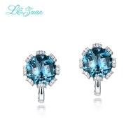 L & zuan 925 Sterling Silver 7.7ct Natural Topaz Blu Pietra Eleganti Orecchini di Clip Per La Donna Regalo Di Natale