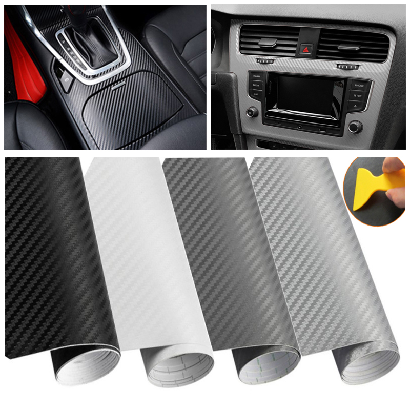 30*127 Cm 3D Vinyl Serat Karbon Film Mobil Tubuh Perubahan Warna Styling Wrap DIY Stiker Decal Sepeda Motor Auto tahan Air Aksesoris title=