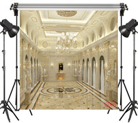 LB Vinyl Magnificent Palace Interior Crystal Chandeliers 10X10FT Studio Backdrop Photography Photo Props Photographic Background