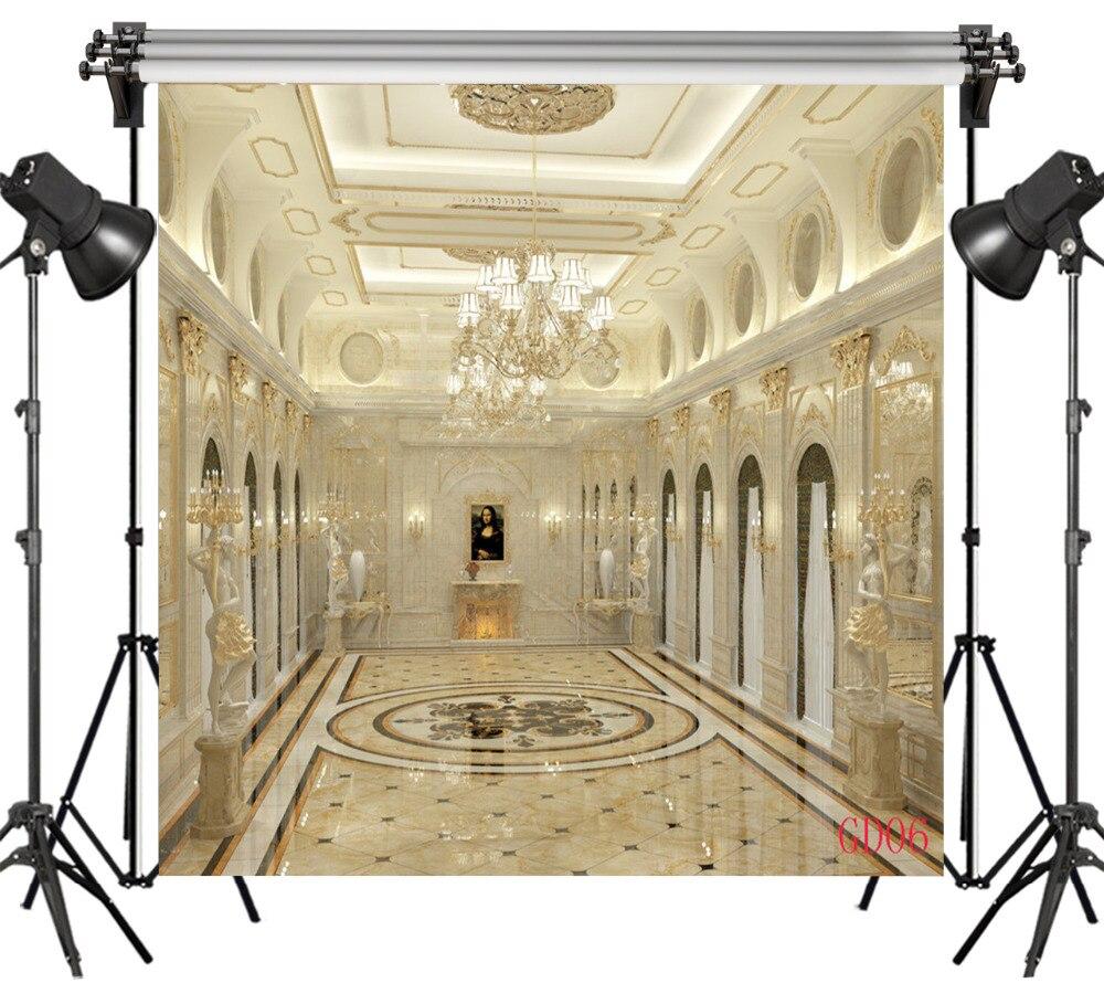 LB Vinyl Magnifique Palais Intérieur Lustres En Cristal 10X10FT Studio Contexte Photographie Photo Props Fond Photographique