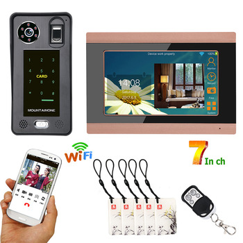 7inch Touch Color LCD Wired Wifi Fingerprint IC Card  Video Door Phone Doorbell Intercom System with Door Access Control System цена 2017