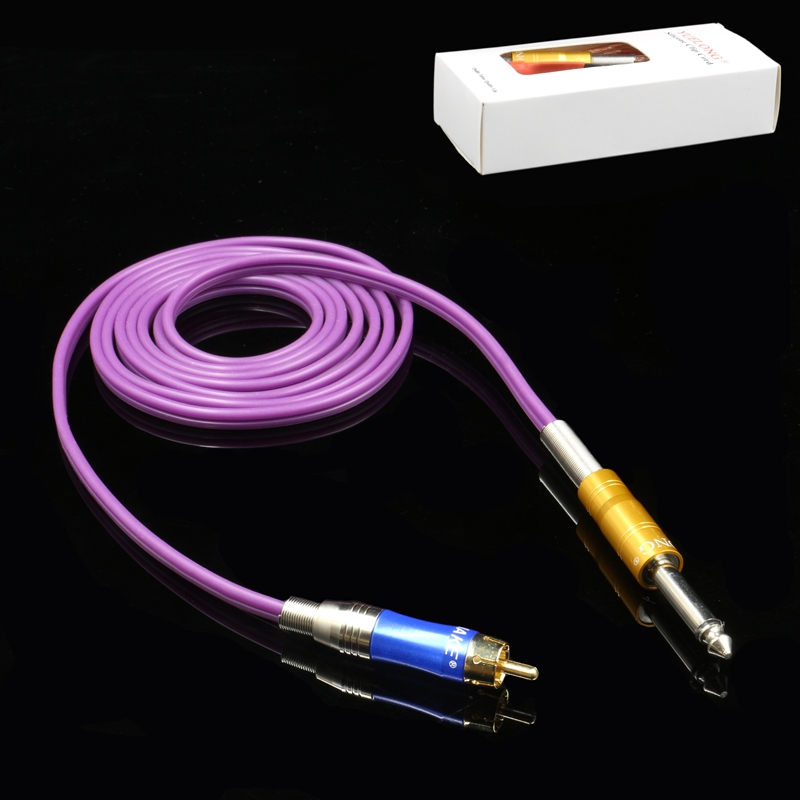 Recommend!!! Top Quality RCA Tattoo Clip Purple Rubber Silicone Cord For Tattoo Power Supply Tattoo Machine Free Shipping