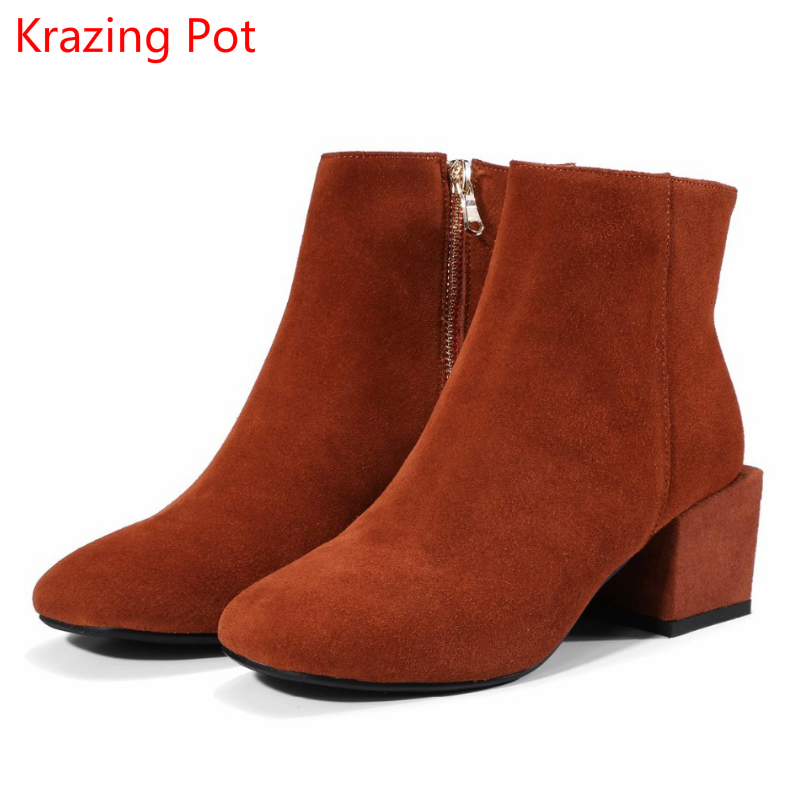 2018 New Arrival Cow Suede Zipper Square Toe Thick Heel Runway Winter Shoes British School Concise Style Warm Ankle Boots L27 цена 2017