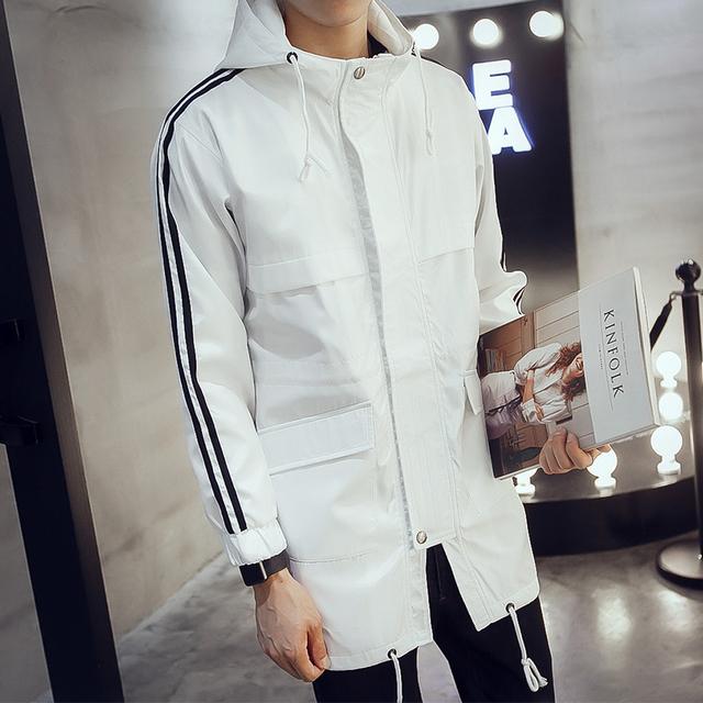 Outono e inverno Homens blusão casaco casuais dos homens em homens jovens do sexo masculino Coreano casaco vestido longo
