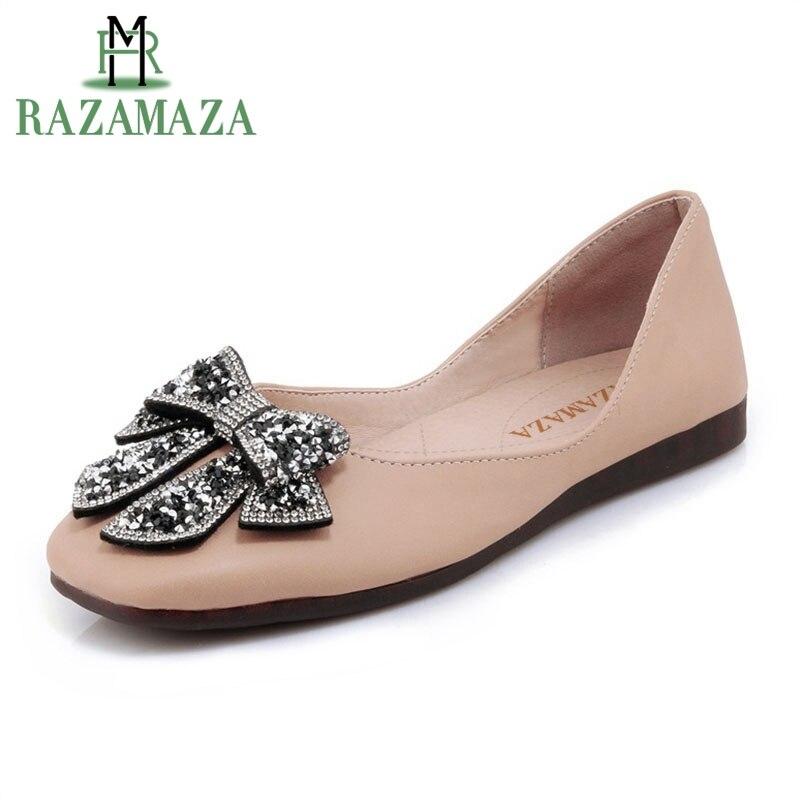 RAZAMAZA Size 30 44 Vintage Women Flats Shoes Women Bowknot Beading Square Toe Ballet Flats Shoes Women Office Lady Women Shoes