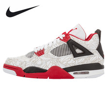 "Nike Air Jordan 4 Retro ""Laser"" Sports Basketball Shoes, Original Shock-absorbing Comfortable Outdoor Sports Shoes 308497 161"