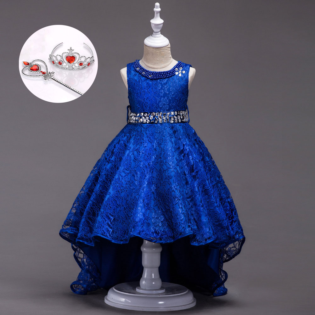 Fashion Child Dress Boutique Red Burgundy Black Royal Blue Short Front Long Back Blue Pageant Gowns for Girls
