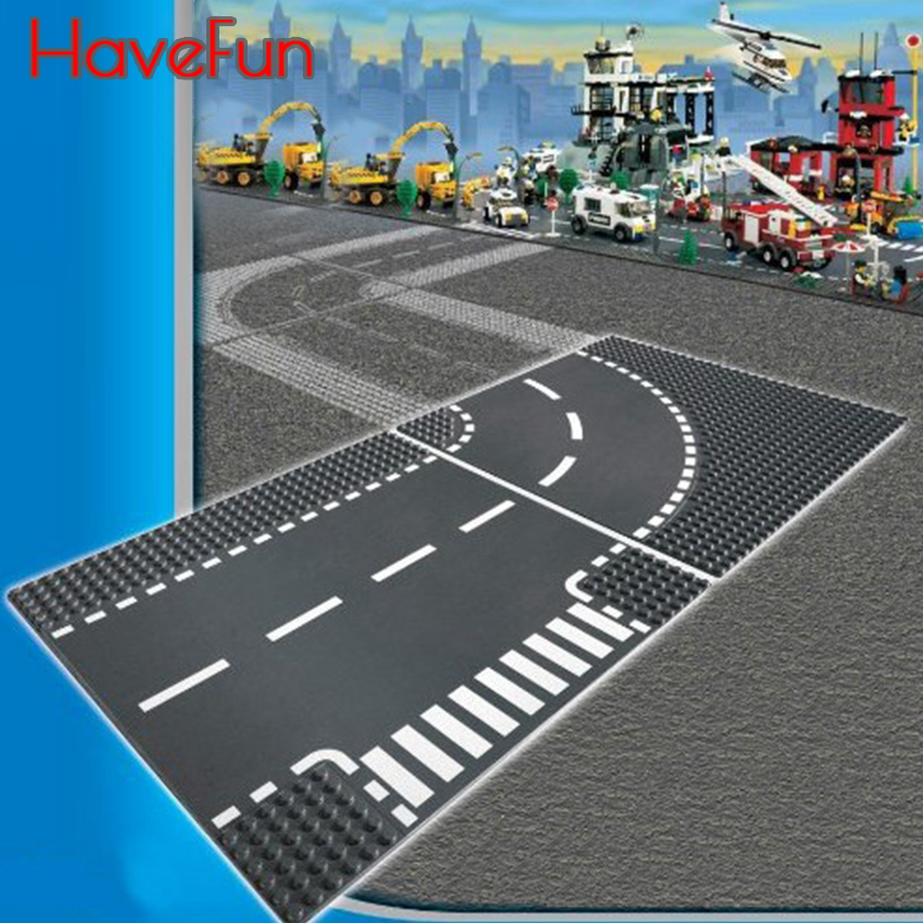 HaveFun City Road Street Baseplate Straight Crossroad Curve T-Junction Building Blocks Parts Bricks Base Plate LegoINGlys 32 32 dots plastic bricks the island straight crossroad curve green meadow road plate building blocks parts bricks toys diy