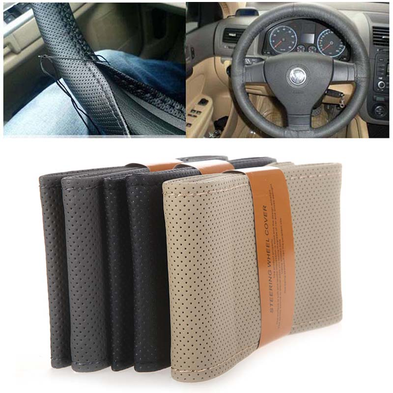 DIY Steering Wheel Covers / Extremely Soft Leather Braid on The Steering Wheel of Car with Needle Thread Interior Accessories