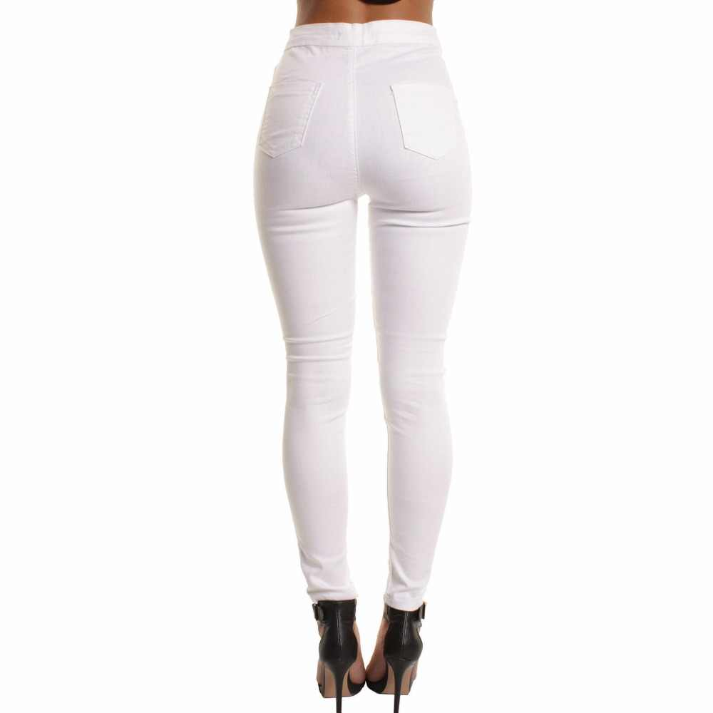 c0332ea398983 ... 2018 Autumn White Hole Skinny Ripped Jeans Women Jeggings Cool Denim  High Waist Pants Capris Female