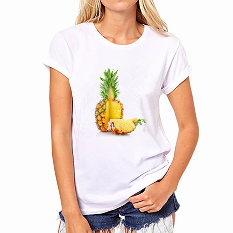 2016 Summer Autumn Women Fruit Pineapple Print Short Sleeve Women Blouses Cotton Shirts Round Neck Blusas NFS50-WB-YH36
