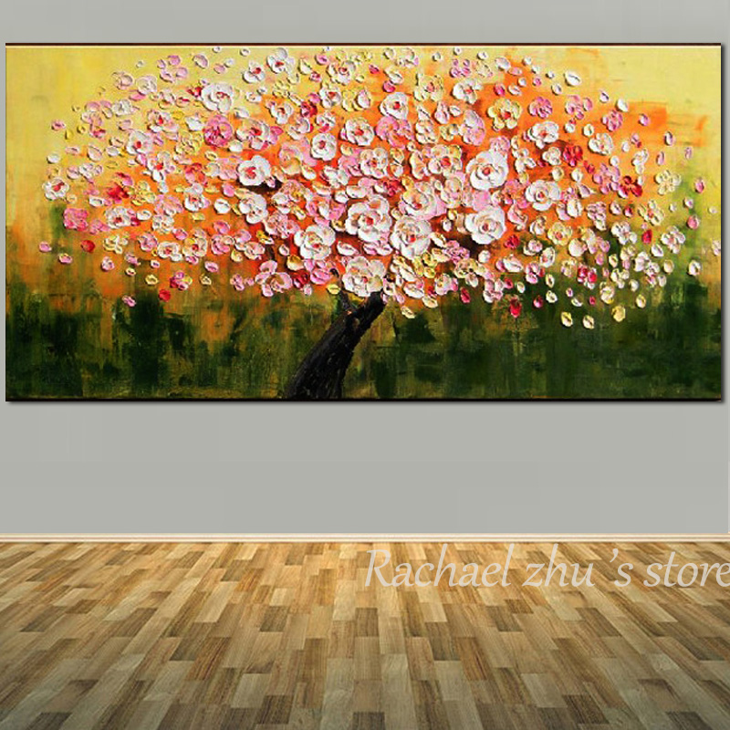 Купить с кэшбэком Hand Painted Abstract Art Palette Knife Red and Green Color Oil Painting On Canvas Wall Picture For Home Decoration Wall Decor
