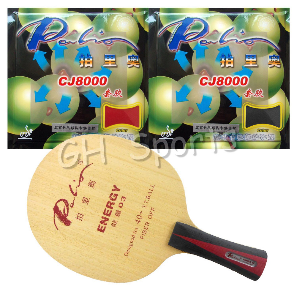 Pro Table Tennis PingPong Combo Racket Palio ENERGY 03 Blade with 2x CJ8000 40-42 degree Rubbers Shakehand Long handle FL pro table tennis pingpong combo racket dhs power g7 blade with 2x palio ak 47 red matt rubbers shakehand long handle fl