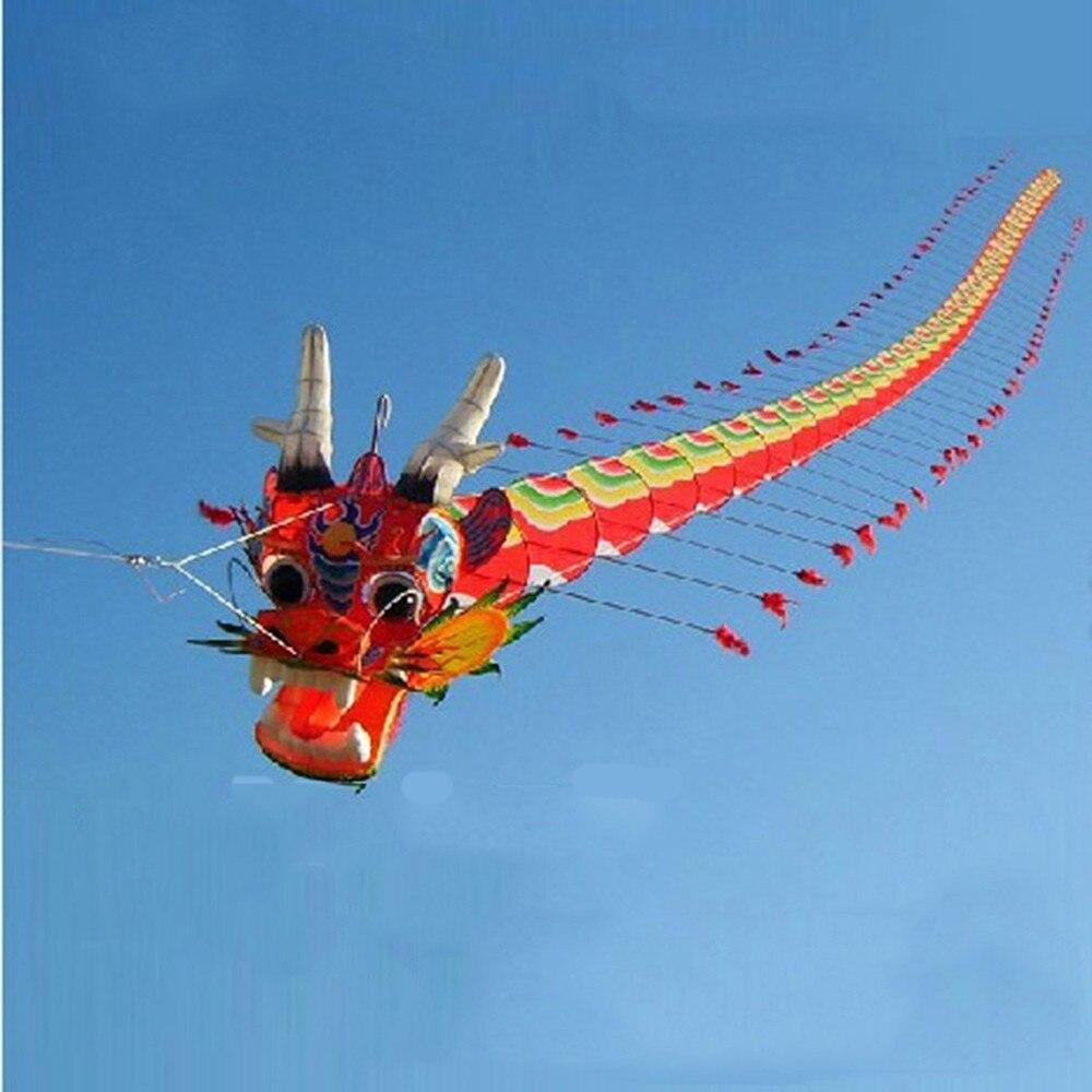 Artisanat traditionnel chinois tête de Dragon mille-pattes enfants cerf-volant sept mètres de Long en plein air parent-enfant