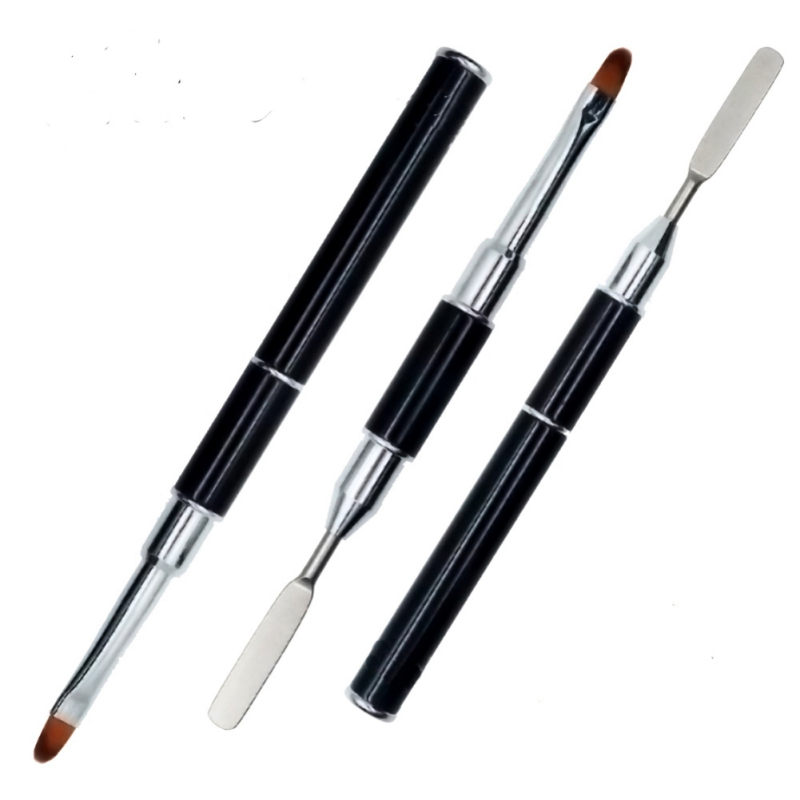 Dual-ended Builder UV Poly Gel Nail Brushes Nylon Hair Flat Pusher For Nail Tips Extension Gel Tips Building Carving Pens