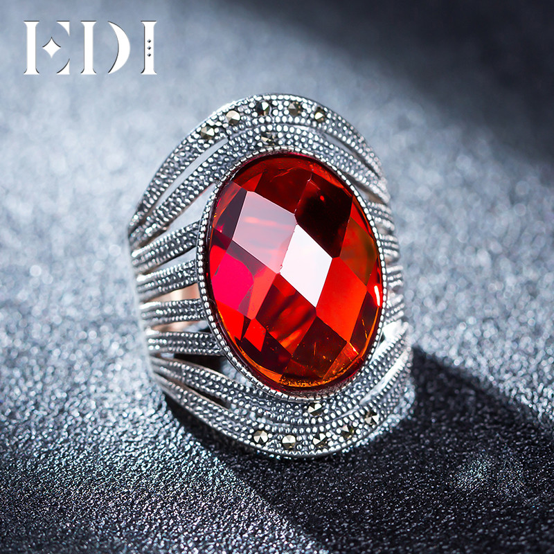EDI Vintage Rouge Grenat 925 Bague En Argent Pour Les Femmes Bohême De Coupe Surface Rétro Fine Jewelry