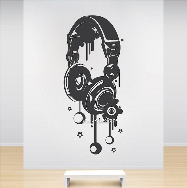 Music dj headphones wall stickers boys room wall decor vinyl decals fashion design home decoration wallpaper
