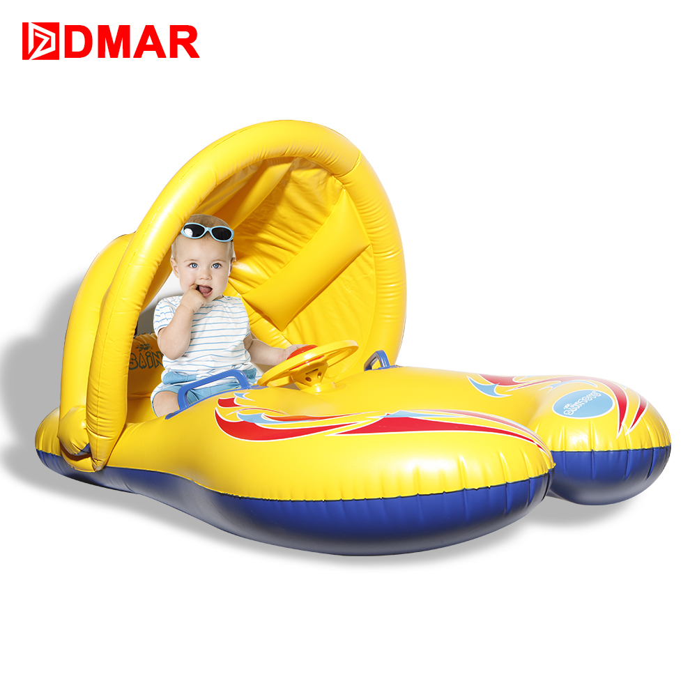 DMAR Inflatable Swimming Ring for Baby Parents Together Canopy Boat Pool Float Mattress Circle Beach Summer Water Game Party Toy