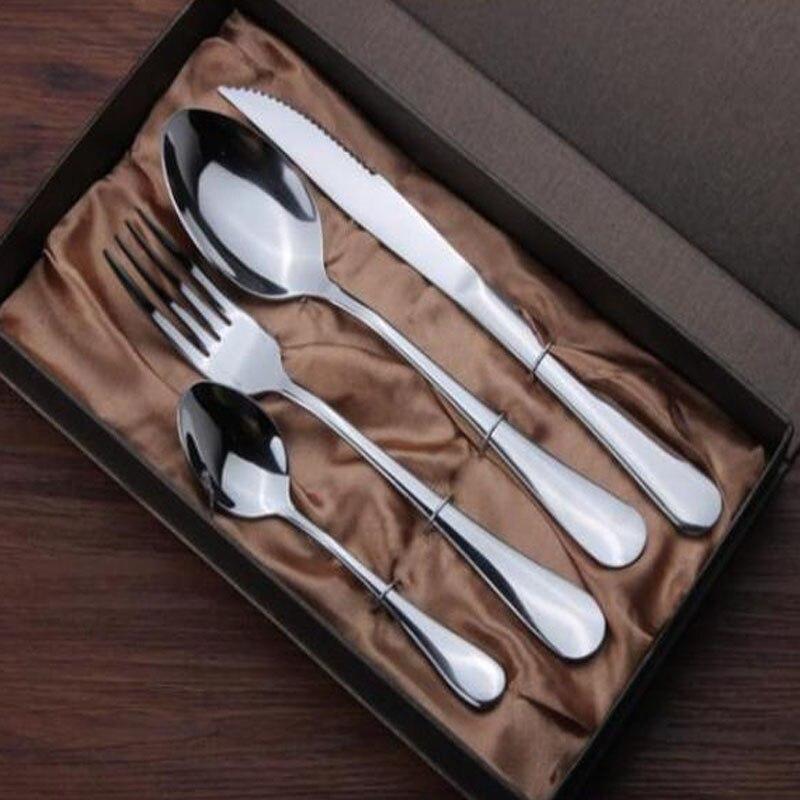 4Pcs set Stainless Steel Mirror Polish Tableware Cutlery Meal Spoon Steak font b Knife b font