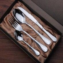 4Pcs/set Stainless Steel Mirror Polish Tableware Cutlery Meal Spoon Steak Knife Fork Kit Set Flatware Non-Slip Suits Dinnerware