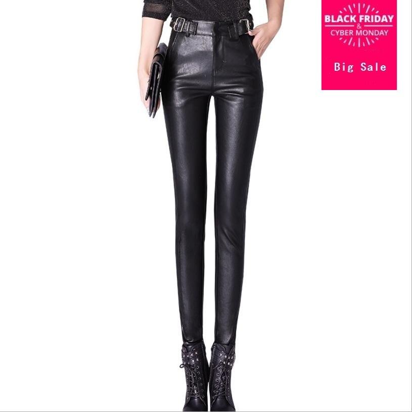 S-2XL PU cuir pantalon femme automne hiver mode femmes taille haute Sexy hanches pantalon Slim était mince skinny crayon pantalon L1212