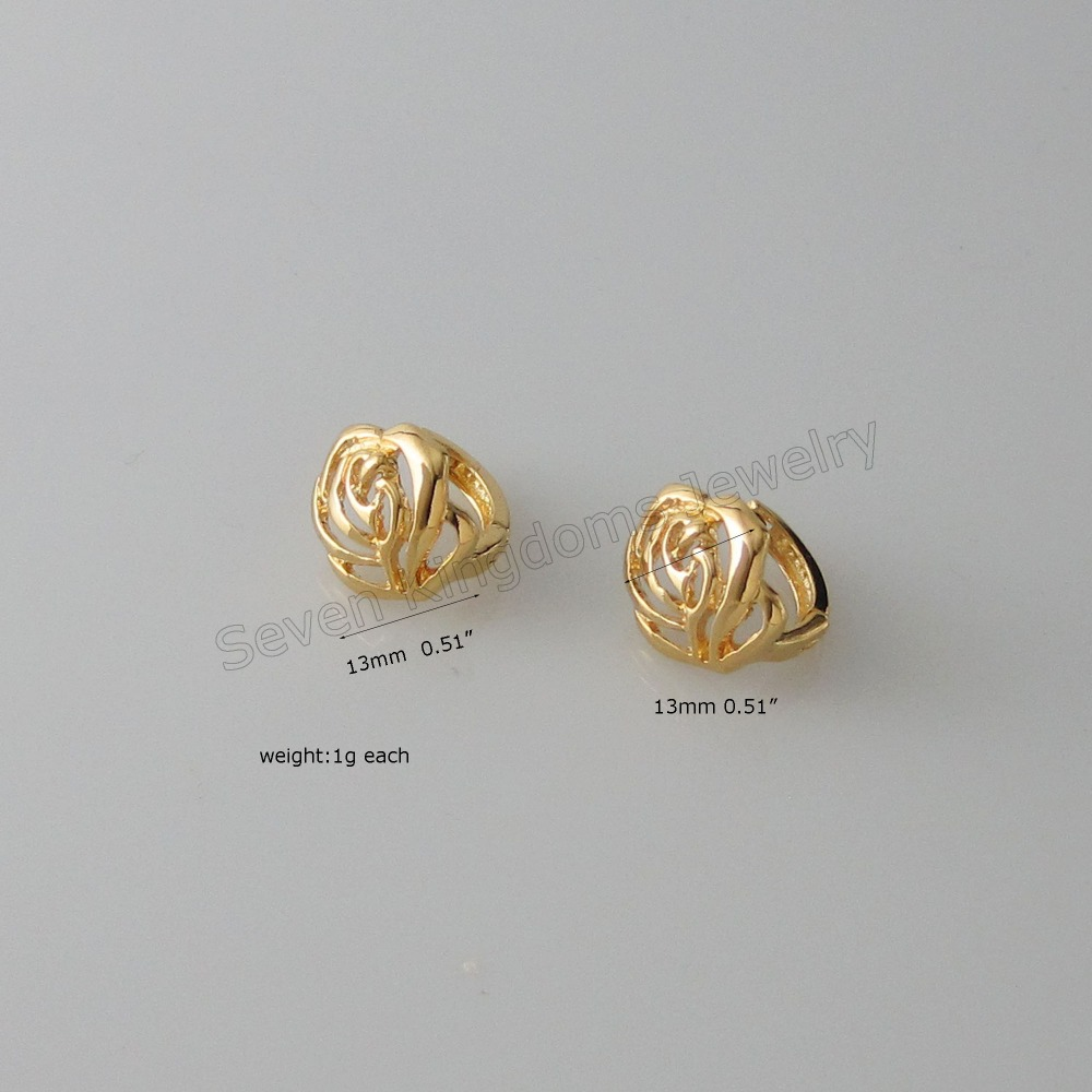 Foromance/ 4 STYLES AVAILABLE - YELLOW GOLD GP FILLED BRASS OVERLAY SMALL HOOP FLOWER PLAIN DOLPHIN EARRING/GREAT GIFT/(China)