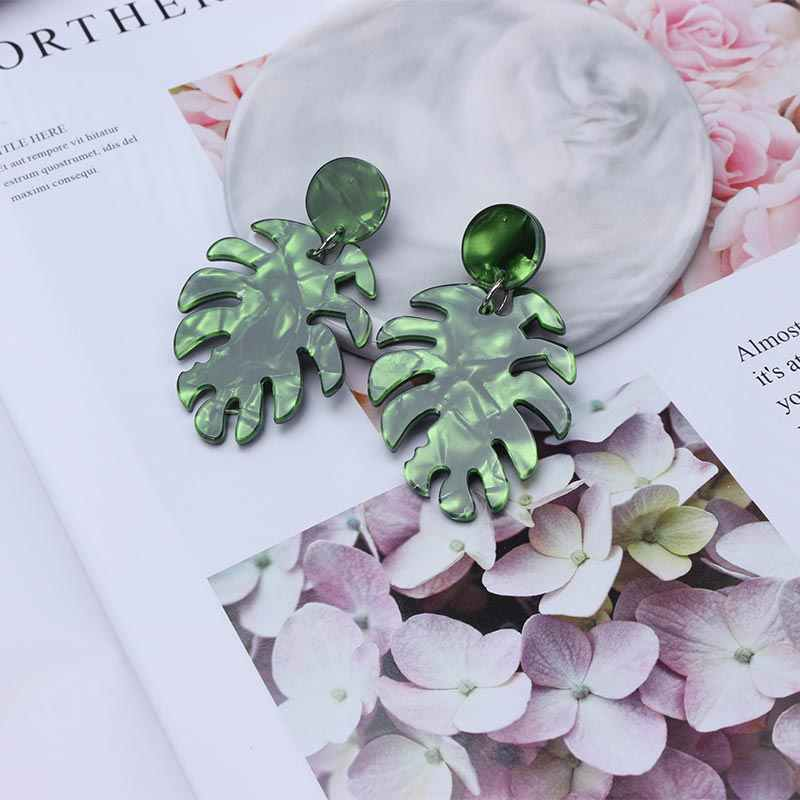 Green Round Leaf Acrylic Earrings 2019 Bohemian Large Statement Earrings for Women Trendy Fashion Jewelry Earing EB429