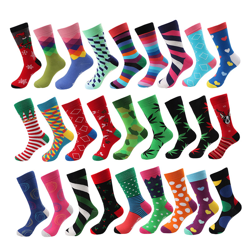 6 Pair/lot Happy Socks Men Casual Navy Marine Corps Combed Cotton Weed Socks Harajuku Hip Hop Weed  Colorful Funny Winter