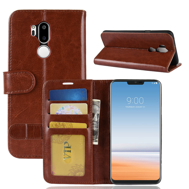 new styles da51e 86826 US $6.64 5% OFF LG7 Case for LG G7 ThinQ G710 Cases Wallet Card Stent Book  Style Flip Leather Covers Protect Cover black for LG G7-in Wallet Cases ...