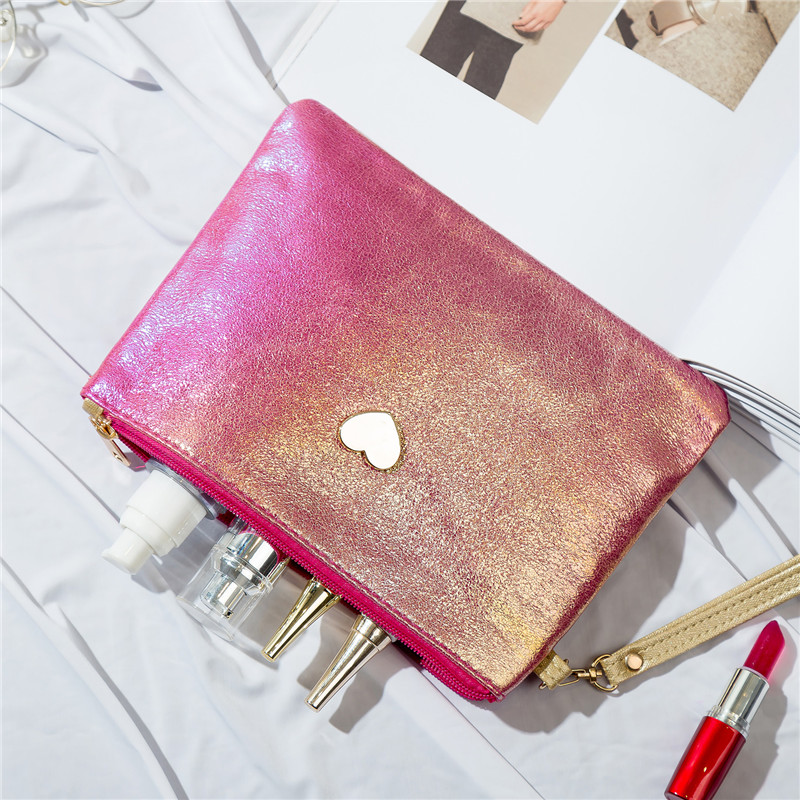 Cute Mini Solid Color Women Makeup Bag Laser PU Leather Lady Small Travel Bag Cosmetic Bag For Travel Girls With Love