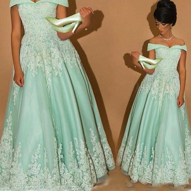 New Hot Elegant Mint Green Lace Off the Shoulder Evening Dress Long Arabic Style Prom Dresses Robe de Soiree Made in China