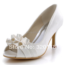 High Heel Woman Shoes for Bride Ivory EP2108 Peep Toe Pleated Satin Bride Bridesmaids Wedding Bridal Prom Dress Pumps White Pink