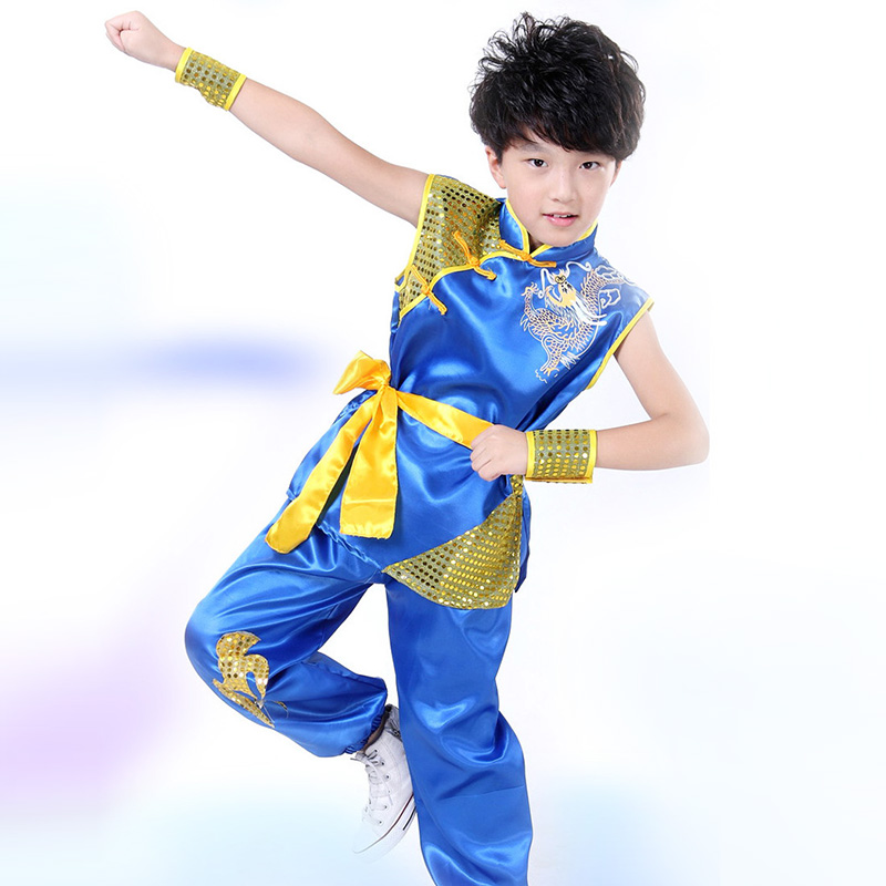 Embroidery Dragon Children Performance Clothing Boys Chinese Costume Kung Fu Clothing Dragon Suit Martial Arts Costume for Kids handsome fashion boys suits embroidery children s business suit stand collar performance clothing flower boys gown