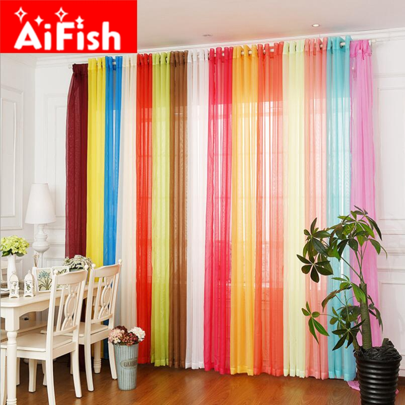 Rainbow Colors Solid Sheer Panels Door Window Curtains