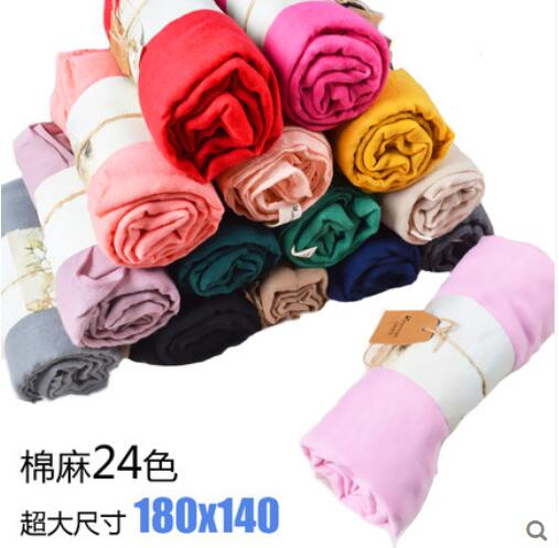 180*140 Long Female Scarves 24 colors cotton linen scarf jersey shawl muslim hijab
