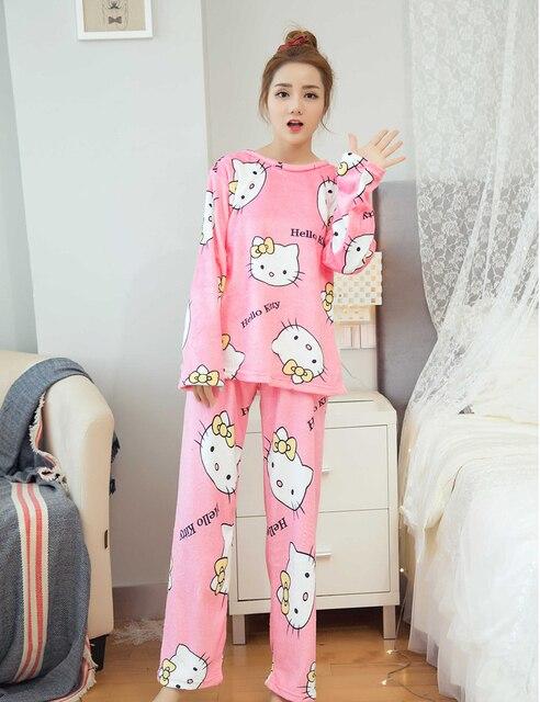 1d40ad851 Ladies Winter Casual Pyjamas Women Long Sleeve Cute Hello Kitty Flannel  Pajama Sets Cartoon Sleepwear Home