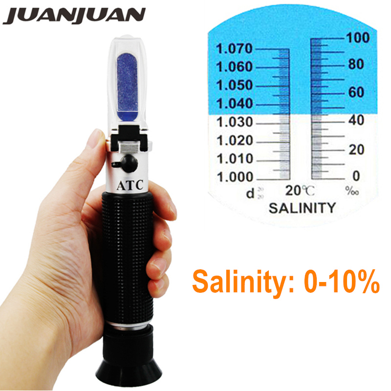 New Design hand held Salinity Refractometer 0-10% Aquarium Salt Water Salinity tester Hydrometer with ATC 20% off 2018 brand fashion baby children clothing boys girl button red knitted cardigan sweater kid spring autumn outerwear clothing