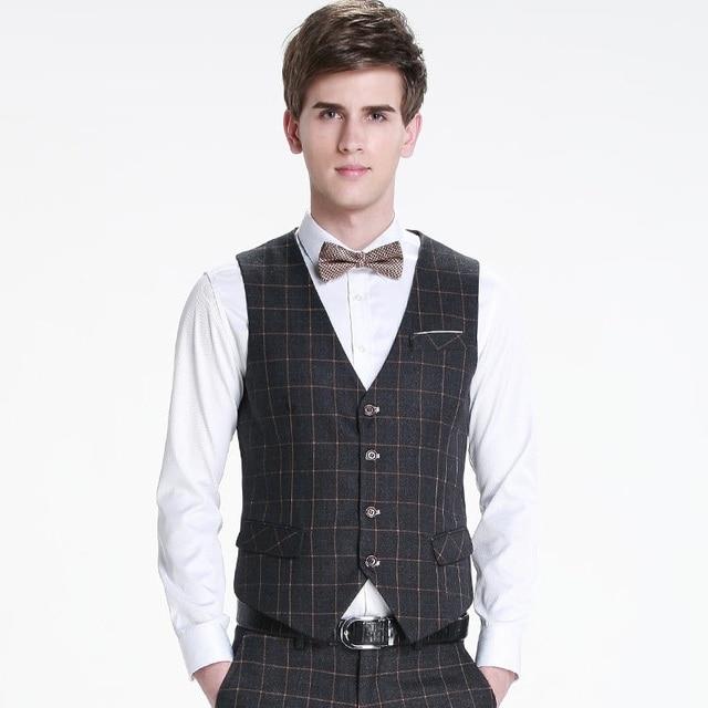 Gilet Hommes Casual plaid Slim Gilet gentleman Costume noir et marine  couleur 0dd1909585e9