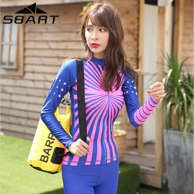 fcb9548ca2 Surf Diving Costumes for Women Rashgard Swimsuit Woman Thin Gather Together  Swimwear Swimwear Wetsuits Surfing Suits for Women