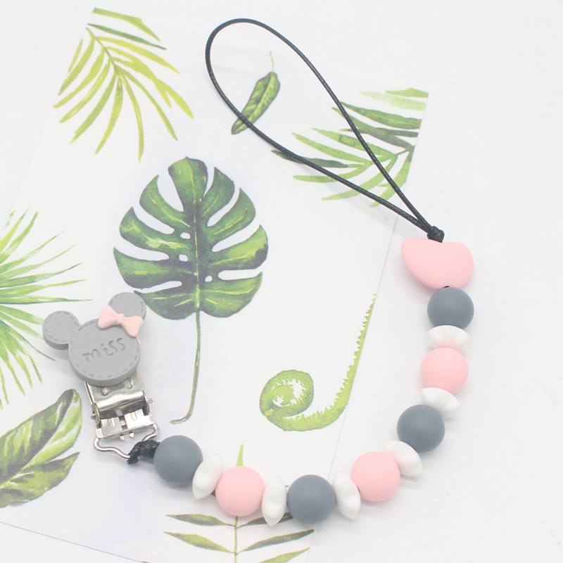 Silicone Round Beads And Star Beads Pacifier Clip Chain Strap Cute Dummy Nipple Leash Strap For Infant Toddler Baby Feeding