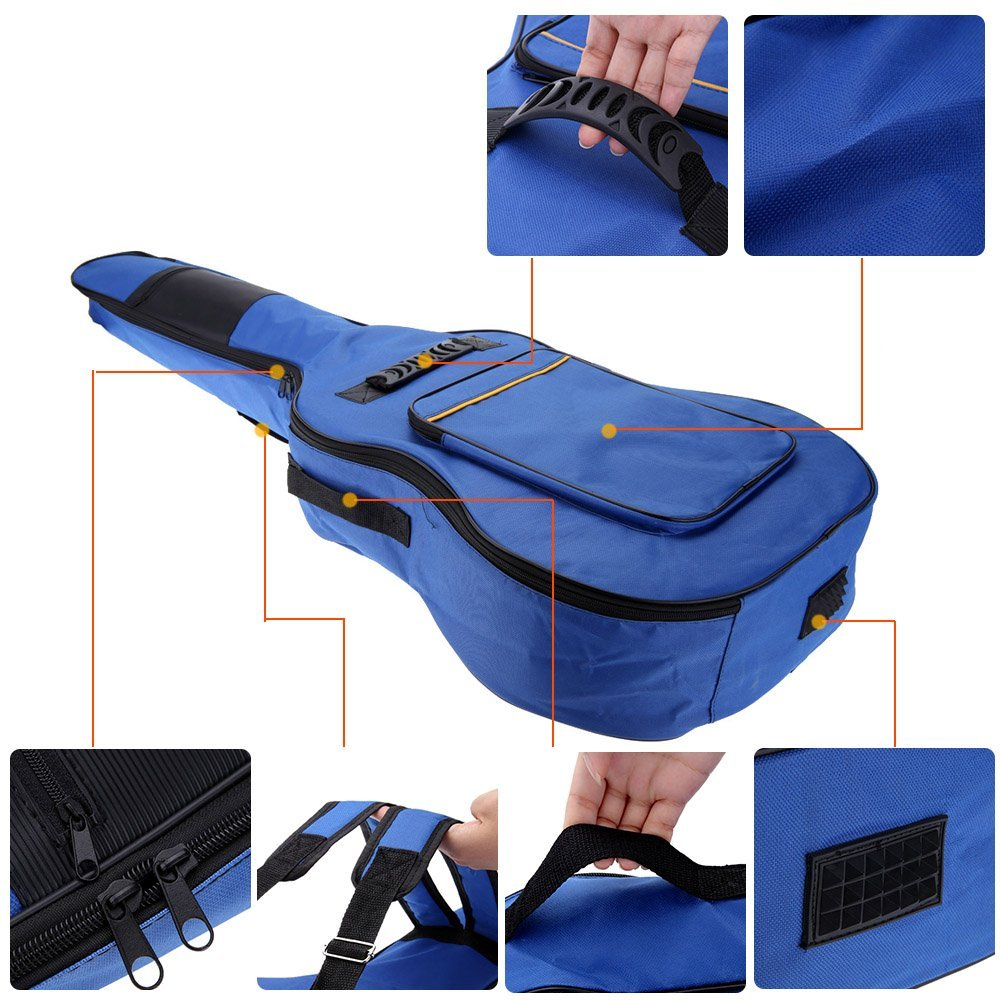 41 Guitar Backpack Shoulder Straps Pockets 5mm Cotton Padded Gig Bag Case blue For Guitar Musical Instrument Accessories