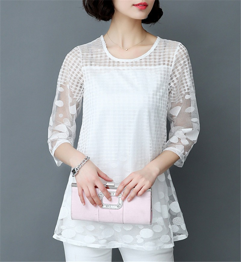 HTB1Uxp9OXXXXXa7XFXXq6xXFXXXO - 5XL Women Fashion Elegant Lace Blouse Shirt Chiffon 3/4 Sleeve