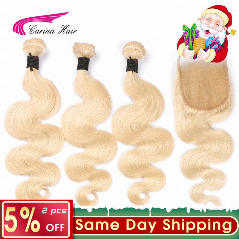 Platinum 613 Blonde Hair Wave Bundles with Closure Brazilian Carina Remy Human Hair Extension Blonde