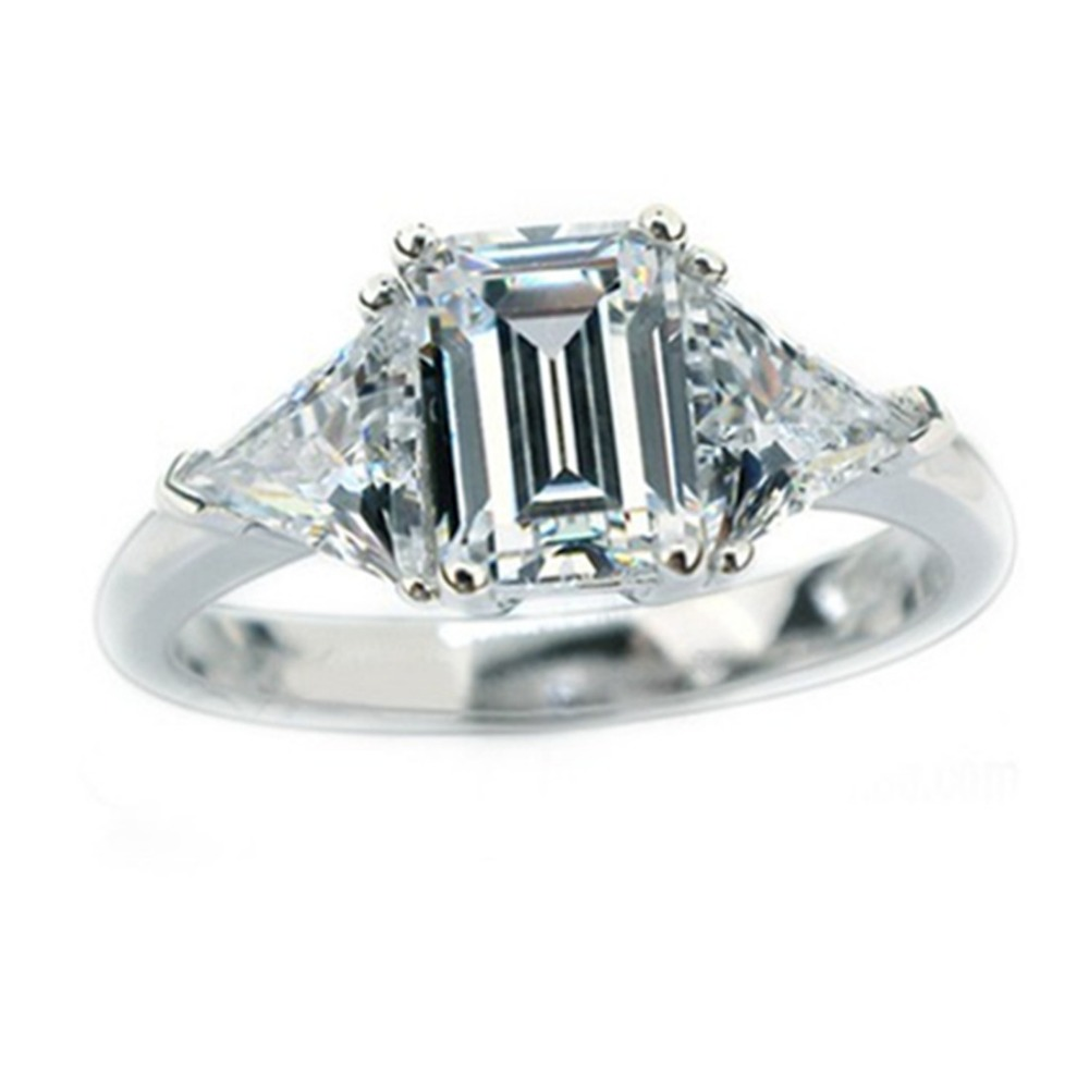 Wholesale Brand Jewelry 3CT Emerald Cut SONA Simulate Diamond Ring Engagement Sterling Silver Jewelry for Women