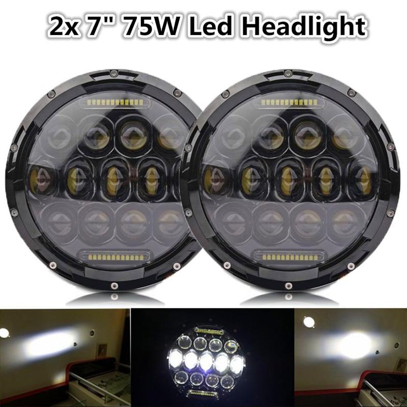 2x 7 75W LED Headlights bulb DRL for Wrangler JK CJ LJ Hummer H1 H2 LED Projector Driving Lamps H4 h13 Adapter2x 7 75W LED Headlights bulb DRL for Wrangler JK CJ LJ Hummer H1 H2 LED Projector Driving Lamps H4 h13 Adapter
