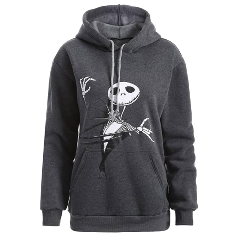 Black Unisex Long Sleeve Drawstring kull Christmas Hat Hoodies Hooded Sweater